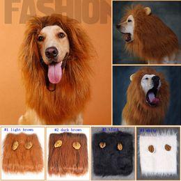 Wholesale white cat halloween costume - Pet Dog Cat hirewig Costume Clothes Funny Lion Mane Wig Head Warm Hat 4 Colors LJJM11