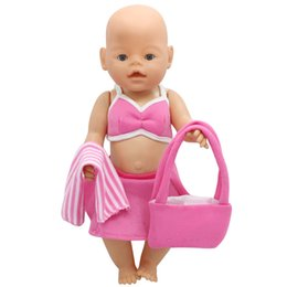 Wholesale Bikini Bag - Baby Born Doll Clothes Bikini Beach Dress + Scarf + Bag Suit Fit 43cm Zapf Baby Born Doll Accessories Birthday Gift X-142