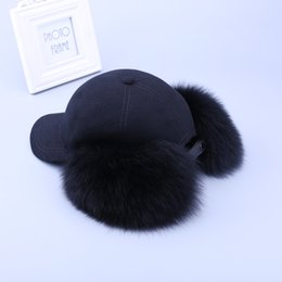 Wholesale real white fox hat - Fashion New 2017 Genuine Real Fox Fur Raccoon Fur Trim Cashmere Wool Blend Baseball Caps Winter Bomber Hats Earmuffs Cap