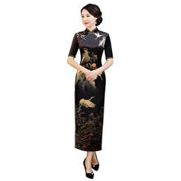 Shanghai Story 2018 Nueva venta de las mujeres de la vendimia de la grúa Qipao Velvet Cheongsam vestido vestido largo chino para mujeres desde fabricantes