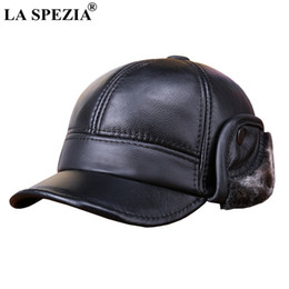 1df43817ddf7c cap earflaps Coupons - LA SPEZIA Winter Baseball Caps Men Genuine Cow  Leather Warm Duckbill Hat