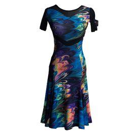 Deutschland Schwarz Blau Kurzarm Sexy Latin Dance Kleid für Frauen / Frau Ballroom Tango Kostüme Flamengo Leistung trägt supplier blue latin dresses Versorgung