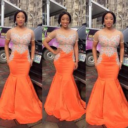 Wholesale girls short natural pageant dresses - South African Black Girls Orange Mermaid Prom Dresses Sheer Neck Beaded Sequined Top Floor Length Evening Pageant Gowns