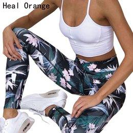 2019 colantes laranja spandex HEAL ORANGE Impresso Estiramento Esporte Leggings Correndo Calças Justas de Fitness Calça Yoga Leggins Ginásio Sportswear Calças mulheres yoga Roupas colantes laranja spandex barato