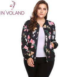 Wholesale Large Size Down Coats - IN'VOLAND Plus Size Women Short Jacket Coat L-4XL Autumn Slim Turn Down Collar Print Large Coat Bomber Tops Outerwear Big Size