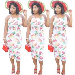 0f9af22d Women Summer Pineapple Watermelon Printed Off Shoulder Halter Slim Dress  One Piece Beach Pink Bohemian Dresses Fruit Strap Dress Fashion XL discount  ...