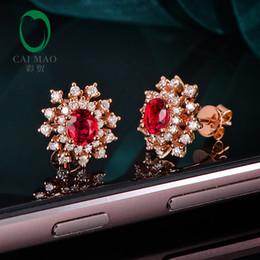 2019 orecchini di diamanti rubino Orecchini Caimao 1,05 ct rosso rubino con borchie squisite in oro rosa 14kt con diamante rotondo da 0,56 ct orecchini di diamanti rubino economici