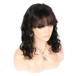 Wholesale Womens Bangs - natural wave Human Hair Top Lace Front Wig Black Womens body wave malaysian Brazilian Wigs with Bangs