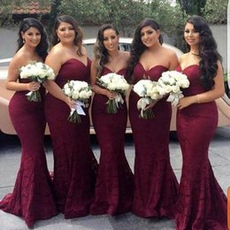 Wholesale Wine Color Evening Dress - 2018 Fashion Wine Red Mermaid Lace Bridesmaid Dress Cheap Sweetheart Corset Back Long Prom Evening Wedding Guest Dress Gowns New