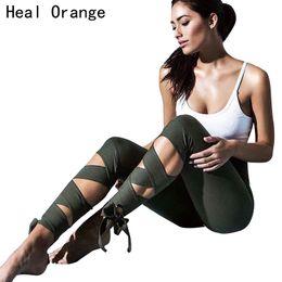 Wholesale Stretch Leggins - HEAL ORANGE Women Yoga Pants Bandage Fitness Gear Running Tights Elastic Leggins Jogging Trousers Stretch Sport Gym Sportswear