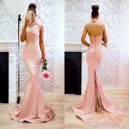 Wholesale Halter Lace Prom Dress Blush - 2018 New Fashion Blush Bridesmaid Dresses Halter Lace Appliques Backless Mermaid Sweep Train Modest Maid of Honor Party Prom Gowns Cheap