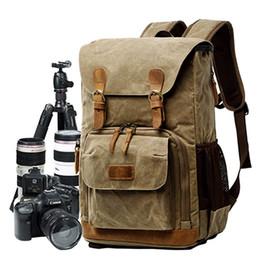 Bolsas de cámara duraderas online-Batik Lona impermeable Lona digital Foto Mochila Fotógrafo durable Bolsa acolchada para cámara con flash de lente de cámara de 15 '' portátil