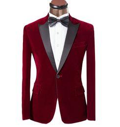 2018 новый элегантный бордовый бархатный смокинг для жениха черный лацкан мужской пиджак Slim Fit костюм мужчины свадебные костюмы с брюками от