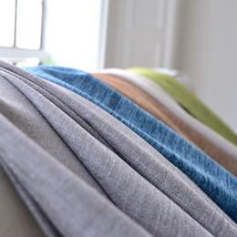 Tessuto di lino blu online-[byetee] Tende oscuranti per soggiorno Tinta unita lino tinta unita Spessore semplice moderno Cortina per camera da letto Tessuto in cotone Cortinas