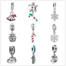 Pulsera de campana online-Envío gratis regalo de navidad campana encantos copo de nieve colgante ajuste pandora encantos mujeres hombres diy pulsera joyería ZY011