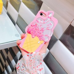 3D telefono cellulare con decompressione in silicone per iPhone X 6 6plus 7 7plus 8 8plus 3D gelato ananas fragola telefono Quicksand da