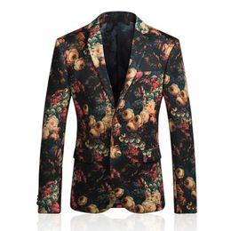 Wholesale Vintage Coat Xs - Wholesale Free Shipping men vintage flower printing Slim fit Two buttons blazer dress casual suit jacket coat