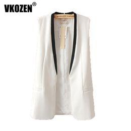 Wholesale White Waistcoat Women - New Arrival 2017 Women Spell Color V Neck Suit Vest Slim OL Waistcoat Jacket 3054