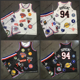 Wholesale Mens Xl Suits - Mens 94Suprem Basketball Jointly Signed Suit Black White 100% Stitched Embroidery Logos Basketball Jerseys High Quality Free Shipping S-XXL