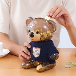 saving box kids Coupons - 5PCS Lovely Children Coin Piggy Bank Bear Plastic Transparent Money Saving Box for Kids Gifts