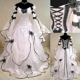 80c0cce3958 2018 Newest Vintage Black And White Wedding Dresses With Long Sleeves Puffy  Off The Shoulder Corset Back Real Photo Bridal Gowns Victorian
