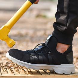 Leichte Sicherheitsschuhe für Männer atmungsaktive Bot Fly Weben Schuhe und Stahlkappe Stiefel gegen Durchstich Piercing Arbeitsschutz von Fabrikanten