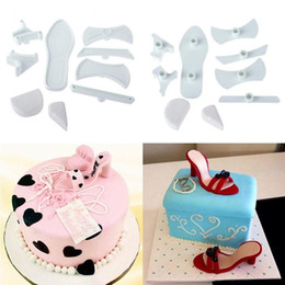 Wholesale Disposable Sandals - Wholesale- Brand New Shape 9pcs set Plastic Sandal Fondant Mold Lady High-Heeled Shoe Cake Baking Mould Hot PC882672