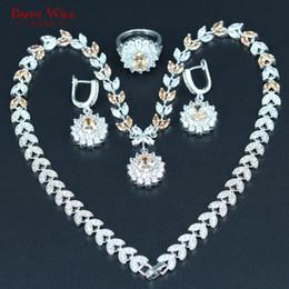 Wholesale Morganite Pendants - whole saleDANDY WILL Orange Morganite White Zircon Bridal Jewelry Set For Women Wedding Silver color Pendant Necklace Earrings Ring