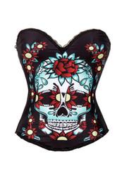 Calavera sexy corsé online-Corsé bustier para mujer envío gratis nuevo diseño cráneo azúcar cráneo top multicolor con flores cráneo