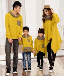 Wholesale Mother Son Fashion Clothes - Family Matching Hoodies Dad Son Pullovers Mother Daughter Long Clothes Black Fashion Family Look Outing Wear Kids 2-12 Years