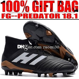 Wholesale Solar Top - 2018 New High Top Soccer Cleats Mens Firm Ground Predator 18.1 FG Socks Football Boots Outdoor Predator Soccer Shoes Black White Solar Red
