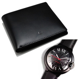 square men mechanical watches 2018 - Men's luxury fashion MB genuine leather wallet and luxury Watch CTR Mechanical Watch card holder credit card calfskin leather wallets