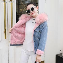 0bf6bdb69e0 Neue 2018 Winter Harajuku Jeans Jacke Frauen Plus samt Verdicken Warme  Damen Mäntel Lose Übergroße Oberbekleidung Mit Kapuze Jeansjacke
