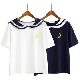 Femmes Harajuku Lettre T Shirt Sailor Collar Kawaii Broderie Tee Tops Femelle D'été À Manches Courtes Lâche T-shirt 2T893 ? partir de fabricateur