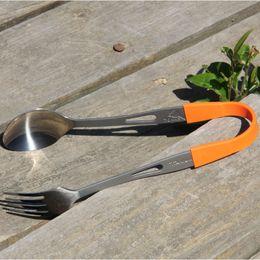 Wholesale Titanium Tableware - Toaks Spoon Fork Titanium Ultralight Eco-Friendly Fork Spork Spoon Set Household Kitchen Dining Tableware Tools Slv -15
