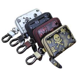 Wholesale Car Key Card Case - Car Key Case Fashion Skull Pattern Men And Women PU Leather Zipper Key Case Car Key Bag LJJE27