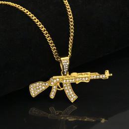 Canada Alliage AK47 Pendentif Pendentif Collier Glacé Sur Strass Avec Hip Hop Miami Chaîne Cubaine Or Argent Couleur Hommes Bijoux cheap ak47 jewelry Offre