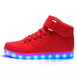 Wholesale Dmx White Led - Big Size Children USB Charging Led Light Shoes Sneakers Kids Light Up Shose with Wings Luminous Lighted Boy Girl Shoes Chaussure Enfant