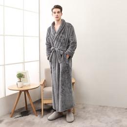 3e40ef17fe 2018 New Winter Bathrobe Kimono Autumn Thicken Robe Velvet Bath Robe Women  Men Warm Flannel Bath Robes