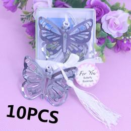 Mariposas para baby shower online-10PSC / SET Mariposa Marcadores de metal Baby Shower Recuerdos Niña Cumpleaños Recuerdo Fiesta Regalos de boda Favor de Regalos para invitados