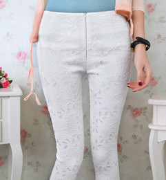 Wholesale Zipper Knee Leggings - Office lady OL lace leggings women casual fashion summer short leggings knee length zipper pants