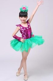 Wholesale performance dance - 2018 New style children Cosplay princess perform clothing Yarn skirt girls Sequins Dance Conjoined clothes Performance clothes