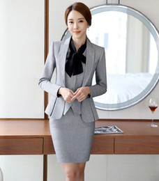 Wholesale Working Jacket Women - Wholesale-Novelty Grey Formal OL Styles Professional Business Women Work Suits With 3 Pieces Jackets +Vest +Skirt Ladies Blazers Outfits