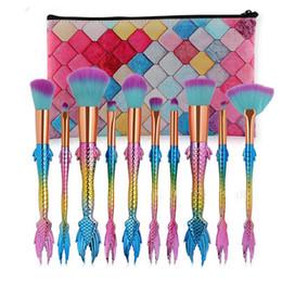 Wholesale Fish Powder - Mermaid Fish Brush Makeup Brush Set Kit Cosmetic Beauty Tool Foundation Eyeshadow Face Powder Rainbow Make Up Brushes with Bag New 3001110