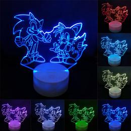 Luz hedgehog on-line-Sonic figura de ação 3d candeeiro de mesa LED mudando Anime The Hedgehog Sonic Miles Toy Model Iluminação Novel Night Light