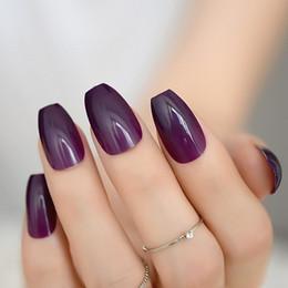 Grape Purple Coffin Nails False Nail Cubierta Completa Bailarina Uñas Postizas Dark Purple Flat Shape Artificial Fuax Ongles 24pcs