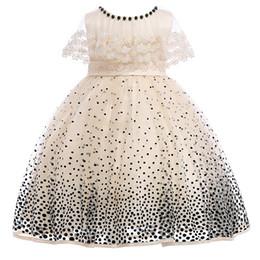 organza di cotone Sconti 2018 Summer New Girls Dress Dots Jersey manica corta 100% cotone abito Champagne bambini abiti per bambine MC1673