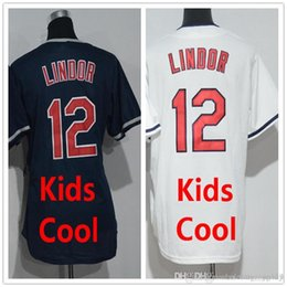 Wholesale Best Free Logos - Kids Jersey #12 Francisco Lindor Youth Wholesale 100% Stitched Embroidery Logos Free Shipping Cheap Sale Best Qualityy