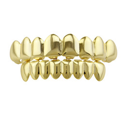 Wholesale fake gold jewelry - Plain Teeth Grillz Gold Rose Gold Silver Color 6 Top and Bottom Teeth Grills Set Metal Fake Tooth Jewelry Teeth Hip Hop Grills