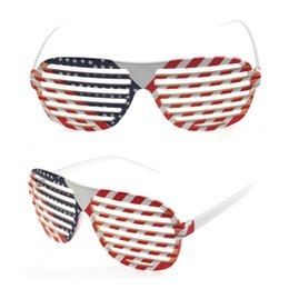 Wholesale Framed Flag - Novelty American UK Flag pattern sunglasses ball fans decoration PVC glasses Window-shades Stars Print eyewear Party Glasses YYA1127